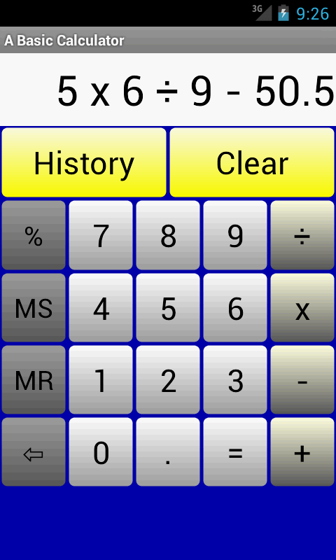 A Basic Calculator Main Screen
