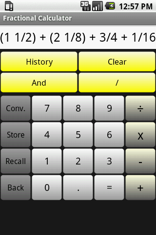 A Fractional Calculator Main Screen