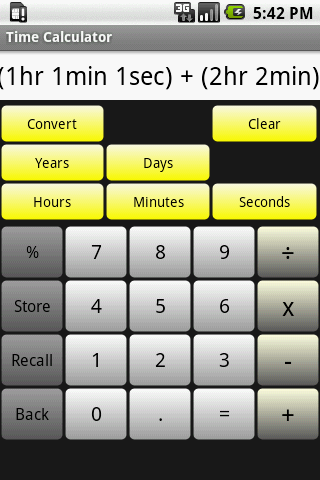Time Calculator Main Screen